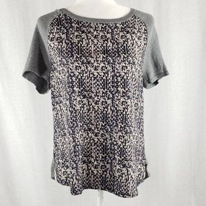 Ann Taylor graphic print mixed fabric top S